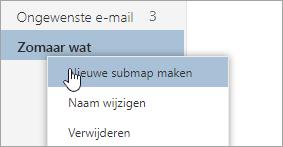 Een schermafbeelding van het snelmenu Mappen met Nieuwe submap maken geselecteerd