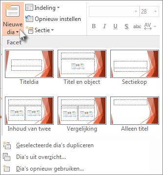 Nieuwe dia-indelingen in PowerPoint.