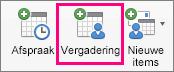 De optie Meeting wordt gemarkeerd op het tabblad Start.