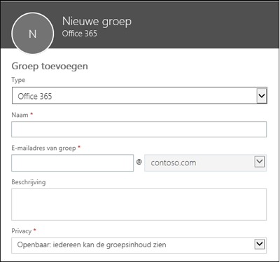 Een nieuwe Office 365-groep, een nieuwe distributielijst of een nieuwe beveiligingsgroep maken