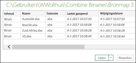 Dialoogvenster Binaire gegevens combineren met te combineren bestanden