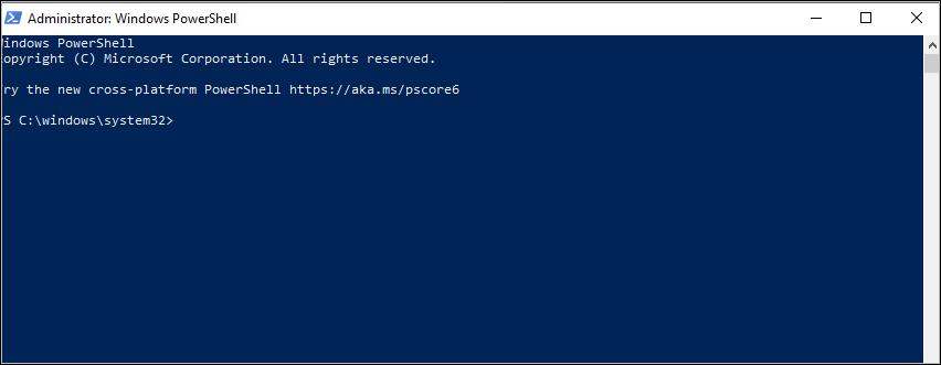 Schermafbeelding: commmand aanwijzing PowerShell op C:\Windows\System32