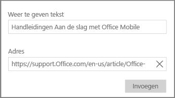 Schermafbeelding van het dialoogvenster voor het toevoegen van een hypertextkoppeling in OneNote voor Windows 10.