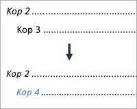 Toont de wijziging van een vermelding van niveau 3 in niveau 4