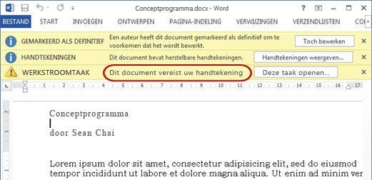 Identificerende tekst in document