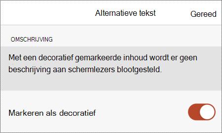 De optie Markeren als decoratief geselecteerd in het dialoogvenster Alternatieve tekst in PowerPoint voor iOS.