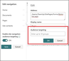Dialoogvenster voor het opgeven van navigatie publiek voor groepen