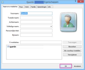 Kies OK voor elke contactpersoon die u wilt importeren naar het .csv-bestand.