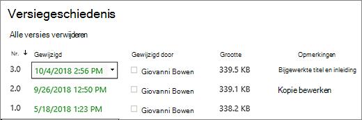 Dialoogvenster Versiegeschiedenis met drie versies.