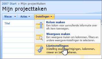Klik vanaf de knop Instellingen op Lijstinstellingen.
