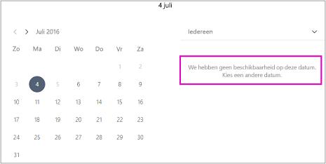 Als het kantoor is gesloten, zien klanten een bericht dat er niemand beschikbaar is. Kies een andere datum.