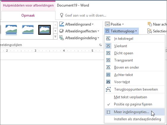 Meer indelingsopties in het menu Tekstterugloop