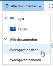 Een aangepaste weergave van een documentbibliotheek opslaan in Office 365