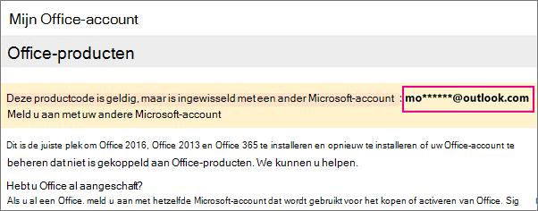 De pagina Mijn Office-account waarop een gedeelte van een Microsoft-account wordt weergegeven