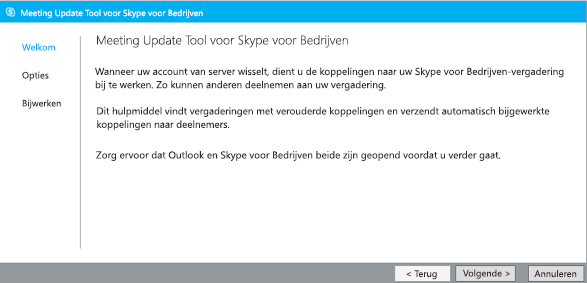 Schermafbeelding van welkomstpagina van Meeting Update Tool