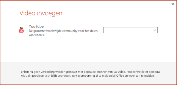 Dit is het dialoogvenster Onlinevideo invoegen in PowerPoint 2013.
