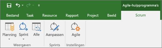 Schermafbeelding van het lint van Project met het tabblad Agile-functies