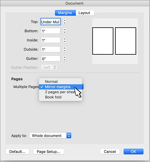 Een spiegel marge instellen voor een set pagina's