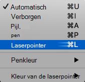 Kies laserpointer aanwijzer in het pop-upmenu