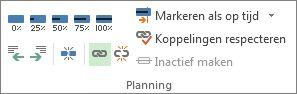 De knop Koppelen in de groep Planning van het tabblad Taak