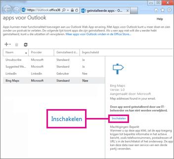 Een app voor Outlook inschakelen