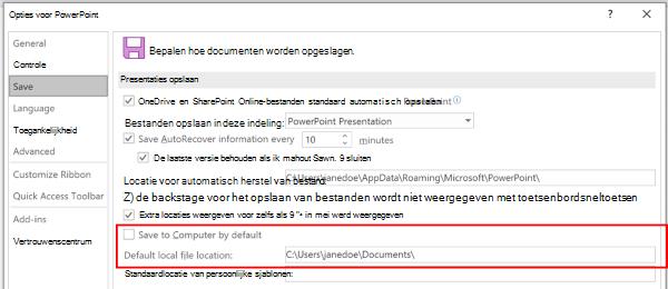 Schermafbeelding van het dialoogvenster Opties voor PowerPoint waarin de sectie wordt gemarkeerd om de standaardlocatie aan te passen