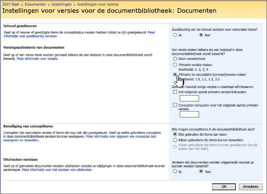 Instellingen voor versies voor het inschakelen van versiebeheer, goedkeuring en het vereisen van inchecken