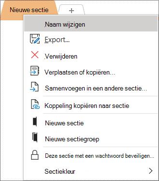 Schermafbeelding van het snelmenu met de optie Naam wijzigen geselecteerd.