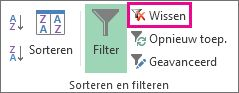 De knop Filter wissen