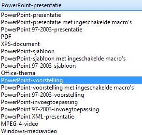 Sla de presentatie op als een PowerPoint-voorstelling.