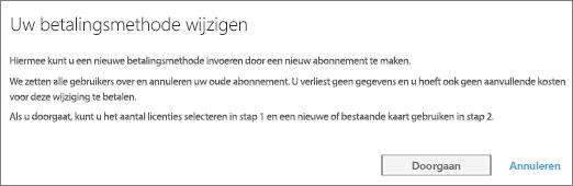 Schermafbeelding van het bericht dat wordt weergegeven wanneer u overstapt van betaling per factuur naar betaling per creditcard.