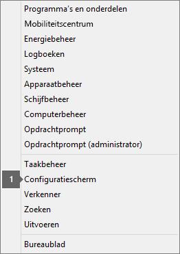 Weergegeven opties en opdrachten na het drukken op de Windows-logotoets + X