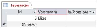 Schermfragment met tabel Leverancier met twee rijen met id