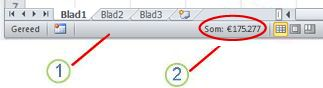 Statusbalk van Excel