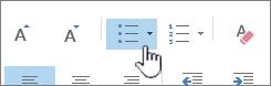 knop Opsommingstekens en nummering in Outlook