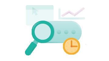 Afbeelding van een vergrootglas, een grafiek en een klok