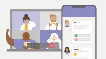 Een apparaat met een chatgesprek en een onlinevergadering
