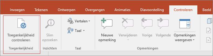 Schermopname van de gebruikersinterface van Word met Controleren > Toegankelijkheid controleren in een rood vierkantje.