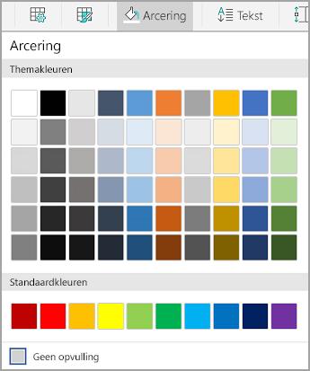 Opties voor tabelarcering in Android