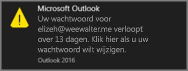 Een afbeelding van de melding die de gebruiker ziet als diens wachtwoord bijna is verlopen.