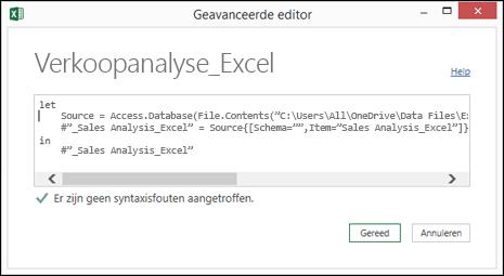 Deelvenster geavanceerde editor van Power query met de functie M taal bewerken