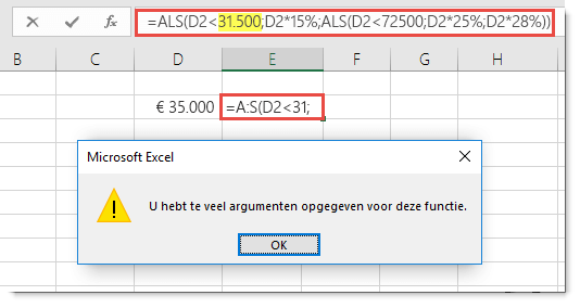 Excel-bericht dat wordt weergegeven wanneer u een komma aan een waarde toevoegt