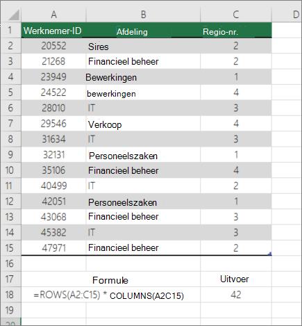 Voorbeeld van de functie rijen en kolommen om het aantal cellen in een bereik te tellen