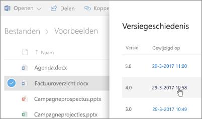 Schermafbeelding van de versiegeschiedenis van een OneDrive voor bedrijven-bestand weergegeven in het detailvenster