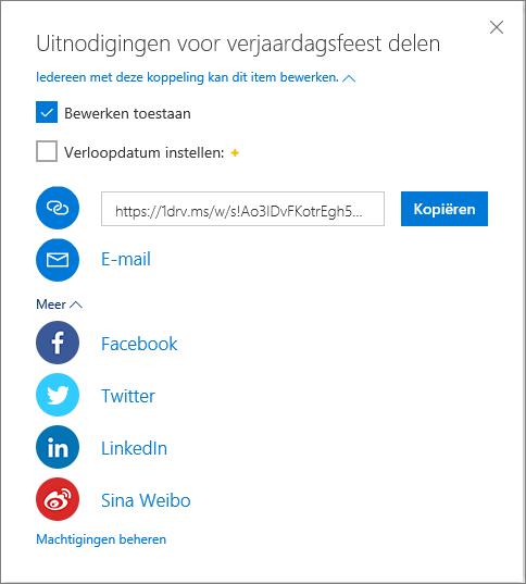 Alle opties voor delen in OneDrive