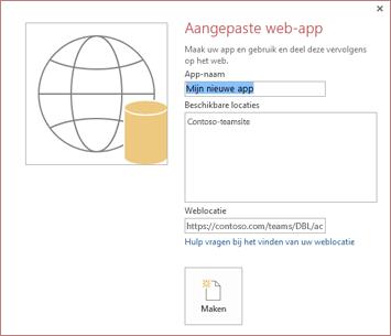Het nieuwe aangepaste dialoogvenster van de webapp met de Contoso-teamsite in het vak Beschikbare locaties.