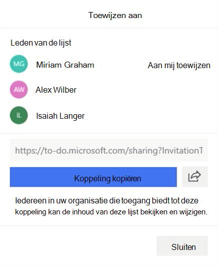 Schermafbeelding met het menu toewijzen aan geopend en de optie voor het toewijzen van de lijst leden: Miriam Graham, Alex Wilber en Isaiah langer, en de optie om de koppeling naar de lijst te kopiëren en te delen.