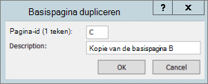 Een schermafbeelding ziet u het dialoogvenster basispagina dupliceren.
