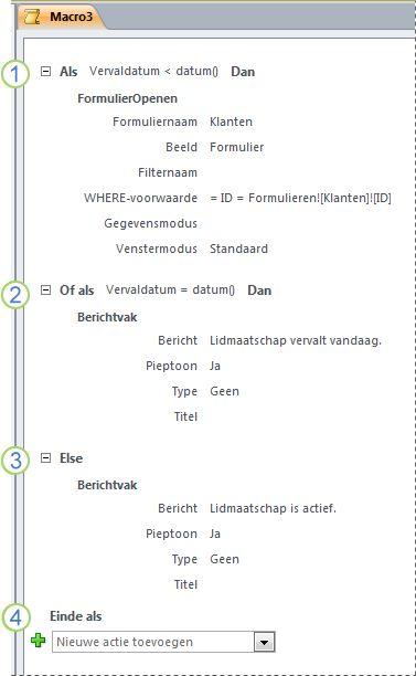 Een macro die een If/Else If/Else-instructie bevat.