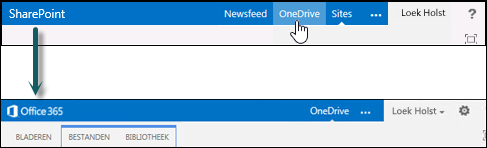 Selecteer OneDrive in SharePoint om naar OneDrive voor Bedrijven in Office 365 te gaan.